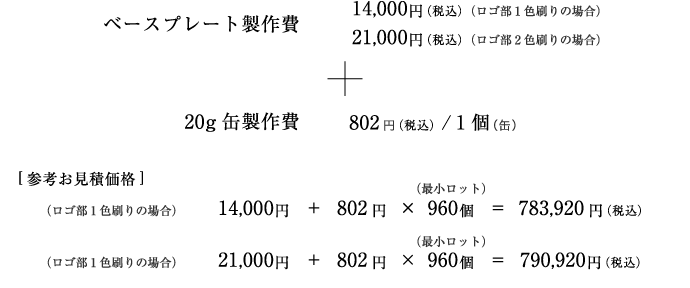 ベースプレート製作費+20g缶製作費価格と参考お見積価格